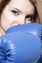 Young attractive woman boxer Stock Photo
