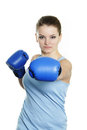 Young attractive woman boxer Stock Images