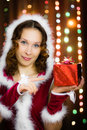 Young attractive woman with a gift Stock Images
