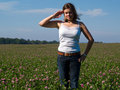 Young attractive woman saluting Yes Sir! Royalty Free Stock Image