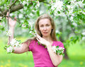 Young attractive woman standing near the blossoming apple tree portrait in a sunny day Stock Image