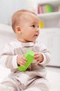 Young baby with block toy Royalty Free Stock Images