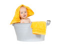 Young baby having fun at bathtime Royalty Free Stock Photo