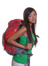 Young backpacker from asia is ready for the trip around the world Stock Photo