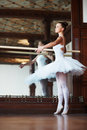 Young ballerina dancing gracefully next to mirror Stock Photos