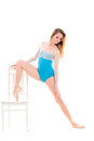 Young ballerina doing stretching exercises Royalty Free Stock Photo
