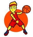 Young Basketball Player Cartoon Character Royalty Free Stock Photo