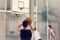 Young basketball player ready to shoot Royalty Free Stock Photo