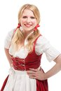 Young bavarian woman in dirndl isolated on white background Royalty Free Stock Photos