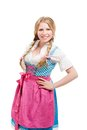 Young bavarian woman in dirndl isolated on white background Stock Photos