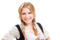 Young bavarian woman in dirndl isolated on white background Stock Image