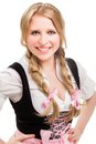 Young bavarian woman in dirndl isolated on white background Stock Photography