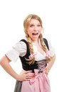 Young bavarian woman in dirndl isolated on white background Stock Photo