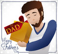 Young Bearded Dad Holding his Special Gift for Father`s Day, Vector Illustration