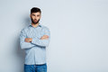 A young bearded man with a serious expression Royalty Free Stock Photo