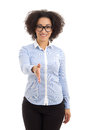 Young beautiful african american business woman ready to handsha handshake isolated on white background Stock Photos