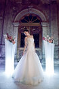 Young beautiful bride with elegant white wedding dress Royalty Free Stock Photo
