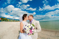 Young and beautiful bride and groom on the beach in summer Royalty Free Stock Image
