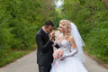 Young and beautiful bride and groom kissing Stock Image