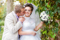 Young and beautiful bride and groom smilling Stock Images