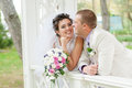 Young and beautiful bride and groom smilling Stock Photography