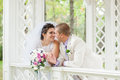 Young and beautiful bride and groom smilling Stock Photos