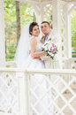 Young and beautiful bride and groom smilling Royalty Free Stock Image