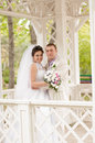 Young and beautiful bride and groom smilling Royalty Free Stock Photography