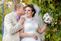 Young and beautiful bride and groom smilling Royalty Free Stock Images