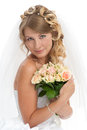 Young beautiful bride with stylish hairdo Royalty Free Stock Photos