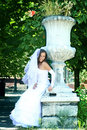 The young beautiful bride in white dress Stock Images
