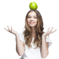 Young beautiful brunette woman with green apple this image has attached release Stock Image