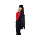 Young beautiful business woman caucasian holding a jacket on her shoulder isolated in full length on white background looking at Stock Image