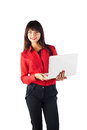 Young beautiful business woman caucasian in red t shirt holding white laptop isolated on white background looking at the camera Stock Image