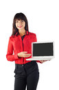 Young beautiful business woman caucasian in red t shirt holding white laptop isolated on white background looking at the camera Stock Photos