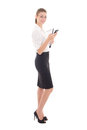 Young beautiful business woman holding cell phone isolated on wh white background Stock Photos
