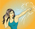 Young beautiful business woman punching and boxing. Concept vector poster in retro comic pop art style Royalty Free Stock Photo