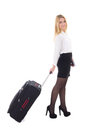 Young beautiful business woman with suitcase isolated on white background Stock Image