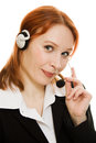 Young beautiful call center female operator Royalty Free Stock Photo