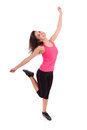 Young beautiful caucasian  fitness woman dancing Stock Images