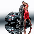 Young beautiful couple end car Royalty Free Stock Image
