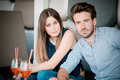 Young beautiful couple lovers at the cafe Royalty Free Stock Image