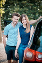 Young beautiful couple lovers in the car Stock Images