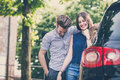 Young beautiful couple lovers in the car Stock Photo