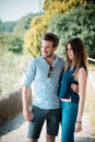 Young beautiful couple lovers outdoors Royalty Free Stock Photography
