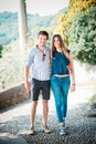 Young beautiful couple lovers outdoors Royalty Free Stock Photo