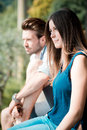 Young beautiful couple lovers outdoors Royalty Free Stock Photos