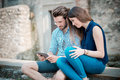 Young beautiful couple lovers using tablet Royalty Free Stock Photo