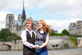 Young beautiful couple in Paris at walk Royalty Free Stock Images