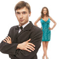 Young beautiful elegant couple men in suit and bow tie with women in green dress Royalty Free Stock Photos